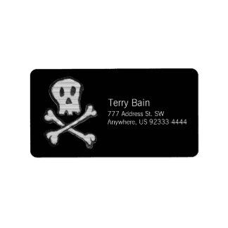 Kid Drawn Mosaic Style Jolly Roger Label