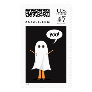 Kid dressed up as ghost saying Boo! postage stamp