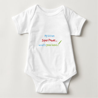 Kid eats green beans baby bodysuit