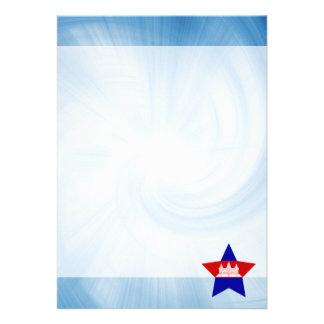 "Kid Friendly Cambodia Flag Star 5"" X 7"" Invitation Card"