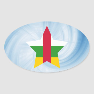 Kid Friendly Central African Republic Flag Star Oval Sticker