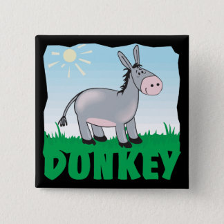 Kid Friendly Donkey Pinback Button