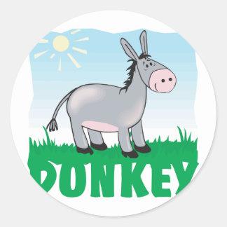 Kid Friendly Donkey Classic Round Sticker