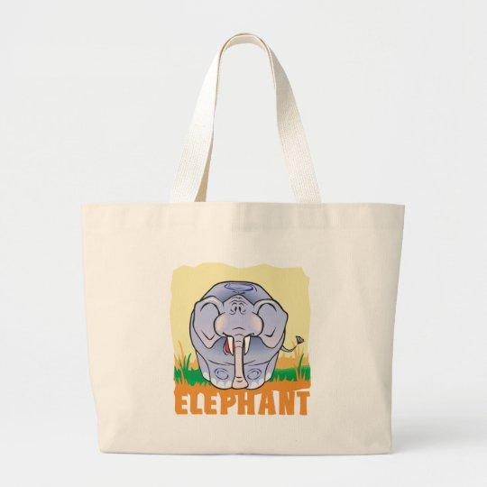 Kid Friendly Elephant Large Tote Bag
