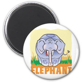 Kid Friendly Elephant 2 Inch Round Magnet