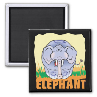 Kid Friendly Elephant 2 Inch Square Magnet