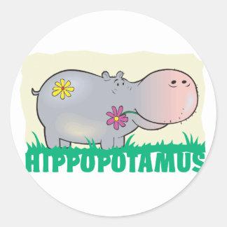 Kid Friendly Hippopotamus Classic Round Sticker