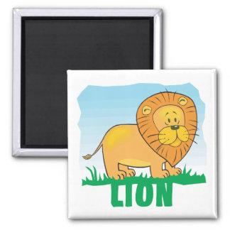 Kid Friendly Lion 2 Inch Square Magnet