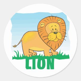 Kid Friendly Lion Classic Round Sticker