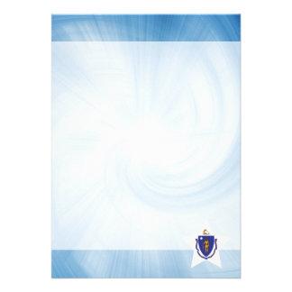 "Kid Friendly Massachusetts Flag Star 5"" X 7"" Invitation Card"
