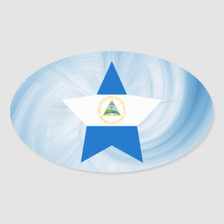 Kid Friendly Nicaragua Flag Star Oval Sticker