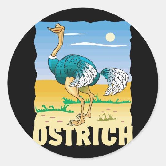 Kid Friendly Ostrich Classic Round Sticker