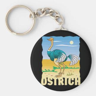 Kid Friendly Ostrich Basic Round Button Keychain