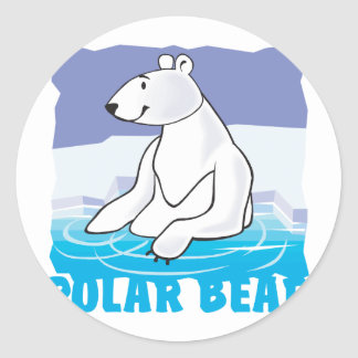 Kid Friendly Polar Bear Classic Round Sticker