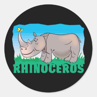 Kid Friendly Rhinoceros Classic Round Sticker