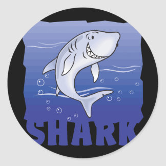 Kid Friendly Shark Classic Round Sticker