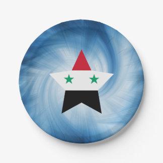 Kid Friendly Syria Flag Star Paper Plate
