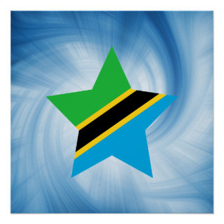 Kid Friendly Tanzania Flag Star Poster