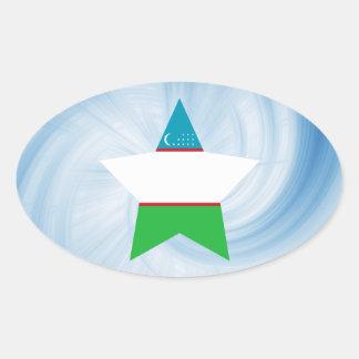 Kid Friendly Uzbekistan Flag Star Oval Sticker