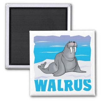 Kid Friendly Walrus 2 Inch Square Magnet