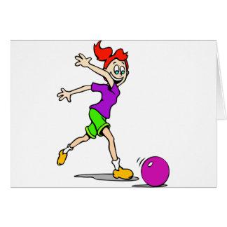 Kid Girl Bowling Card