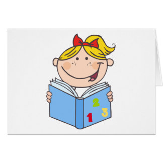 Kid Girl Reading A Book Card