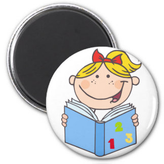 Kid Girl Reading A Book Magnet