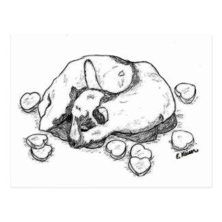 Kid Goat Sleeping among Candy Hearts Postcard
