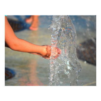 kid hands in water fountain personalized flyer