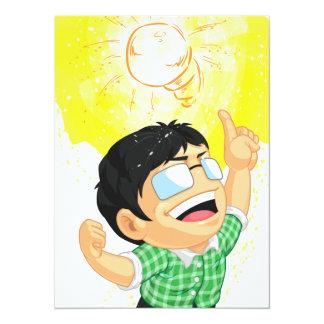 Kid Having a Shining Light Bulb Idea Card