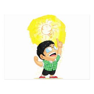 Kid Having a Shining Light Bulb Idea Postcard