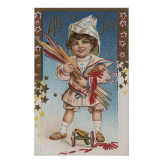 Kid Holding Fireworks and Rockets Poster