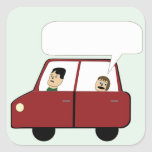 Kid in Car Cartoon Stickers