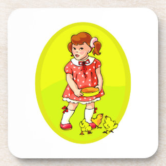 kid in red dress feeding chicks yellow oval.png coaster