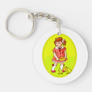 kid in red dress feeding chicks yellow oval.png Double-Sided round acrylic keychain