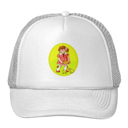 kid in red dress feeding chicks yellow oval.png trucker hat