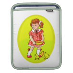 kid in red dress feeding chicks yellow oval.png sleeve for iPads