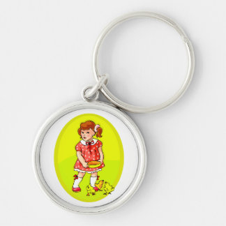 kid in red dress feeding chicks yellow oval.png Silver-Colored round keychain