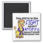 Kid In The Fight Against Arthritis 2 Inch Square Magnet