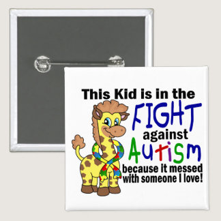Kid In The Fight Against Autism Pinback Button