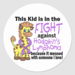 Kid In The Fight Against Hodgkins Lymphoma Round Sticker