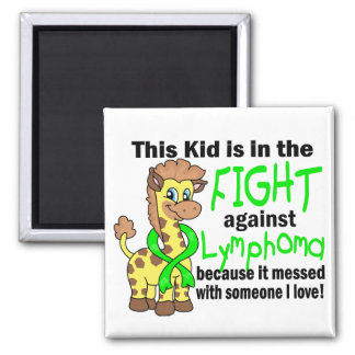 Kid In The Fight Against Lymphoma 2 Inch Square Magnet