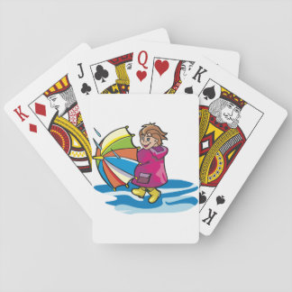 Kid In The Rain Playing Cards