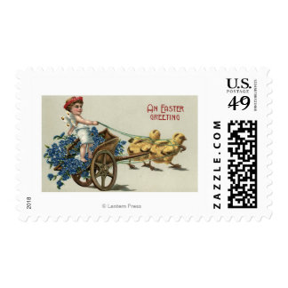 Kid in Toga on Chariot Pulled by Chicks Postage