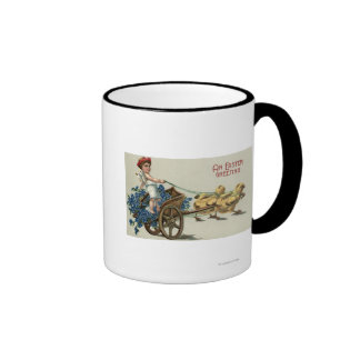 Kid in Toga on Chariot Pulled by Chicks Ringer Mug