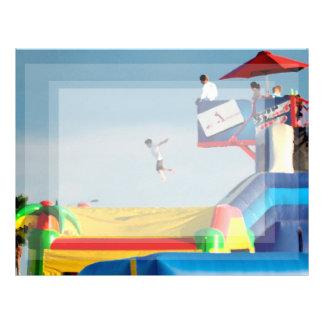 kid jumping off ride at carnival letterhead