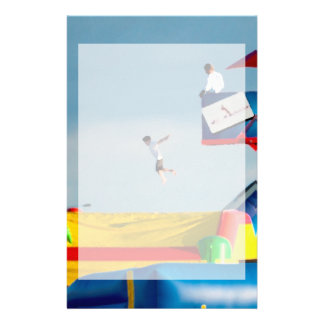 kid jumping off ride at carnival stationery design