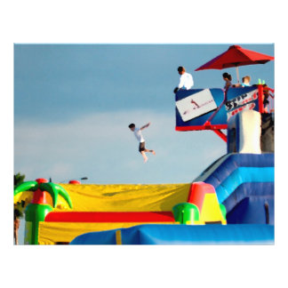 kid jumping off ride colorful painting style flyers