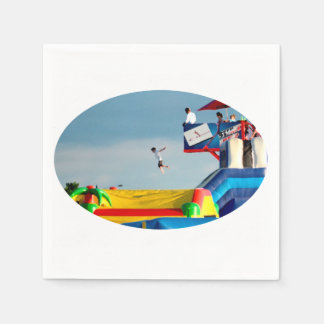 kid jumping off ride colorful painting style standard cocktail napkin