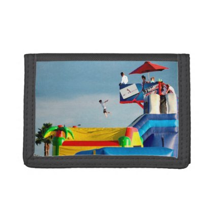 kid jumping off ride colorful painting style trifold wallets